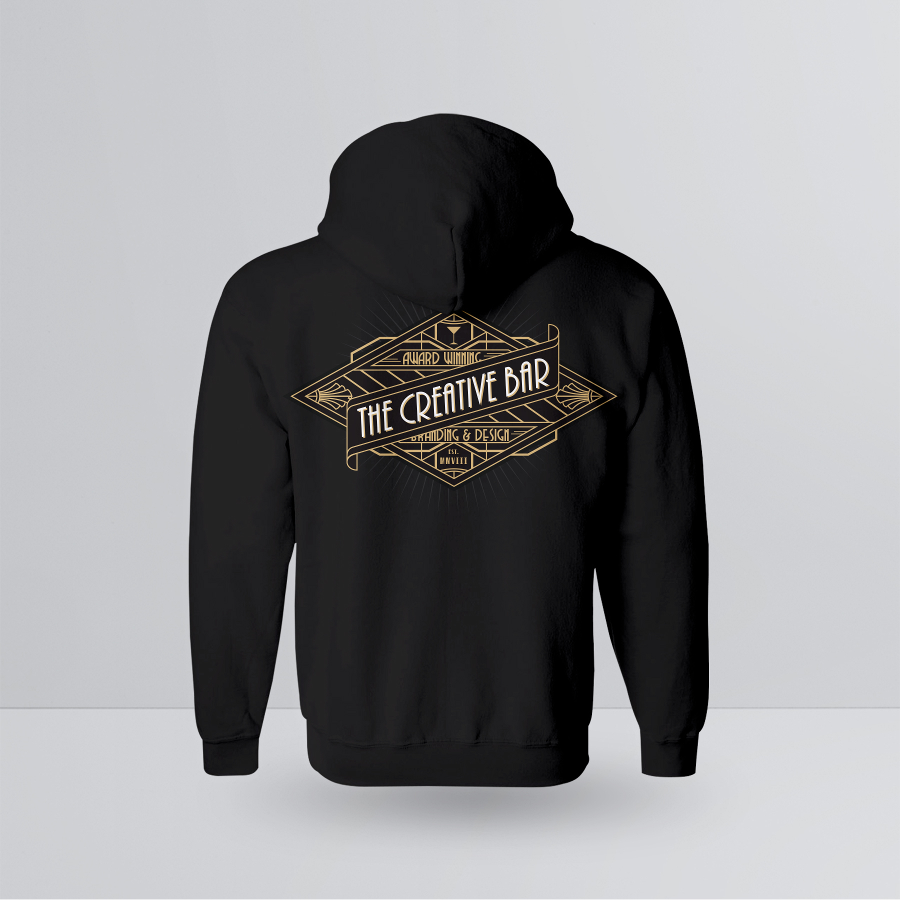 The Creative Bar Womens Manhattan Zip-up Hoodie, Back View