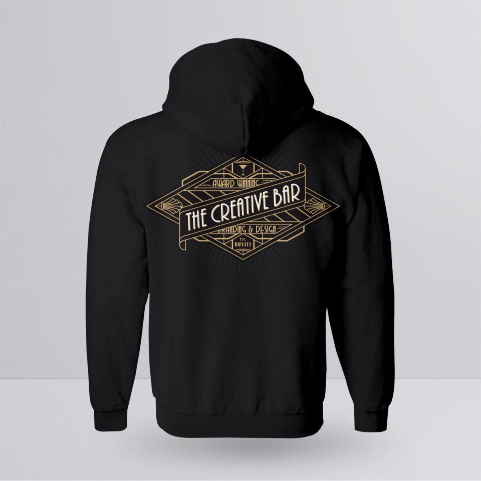 The Creative Bar Mens Manhattan Zip-up Hoodie, Back View