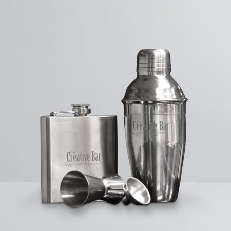 The Creative Bar Products, Stainless Steel Cocktail Shaker Set with Hip Flask