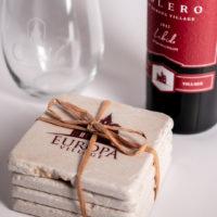 Europa Village Coasters with Bolero Wine Label Designs